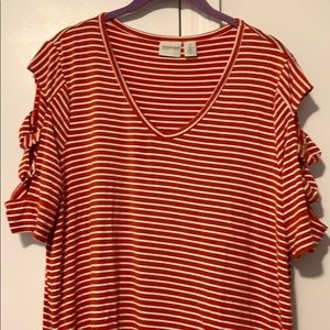 Zenergy by Chico's red striped shirt size 2